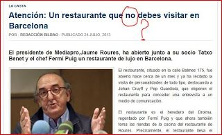 Fermi Puig Restaurant roures