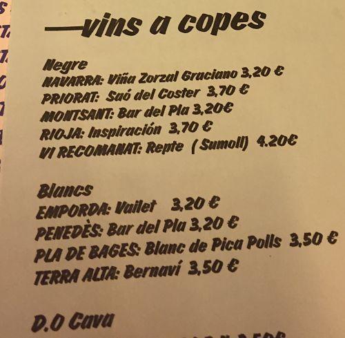 Bar del Pla vins copes