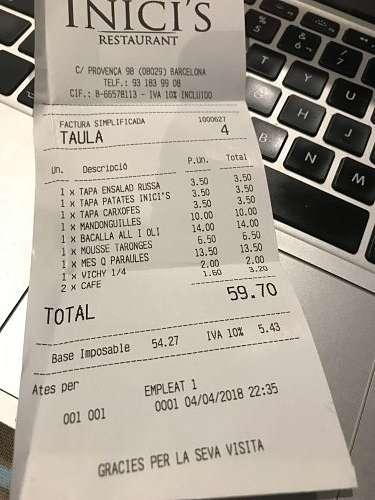 Inici's restaurant-tiquet