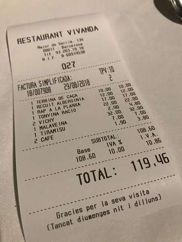 Vivanda Restaurant tiquet