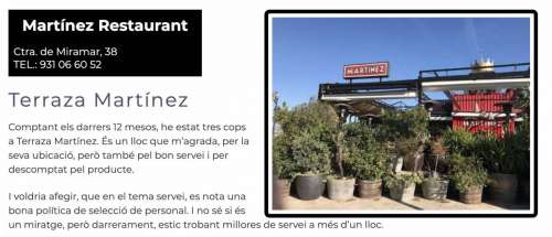 Restaurants Recomanats Barcelona Terraza Martinez