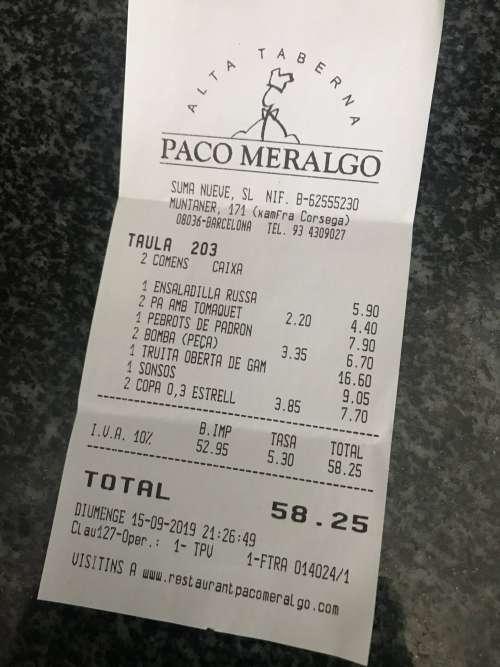 Paco Meralgo tiquet