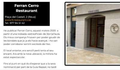 Restaurants Sud de Catalunya Ferran Cerro