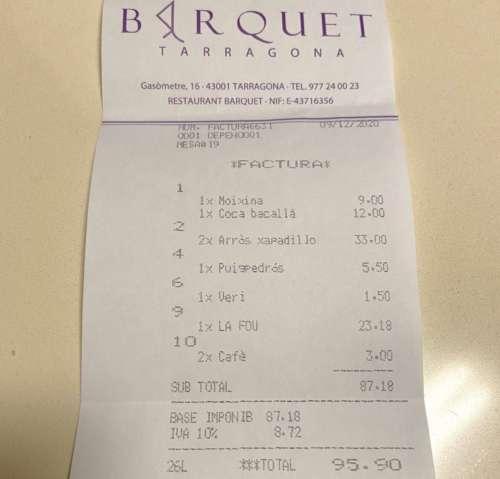 Barquet tiquet