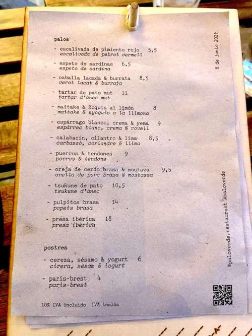 Palo Verde carta