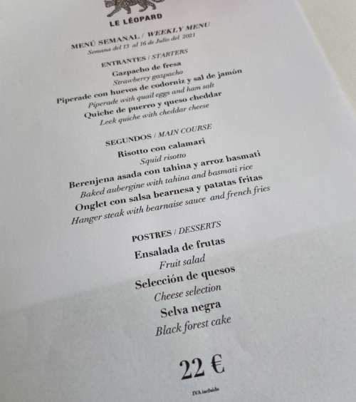 Le Léopard menu