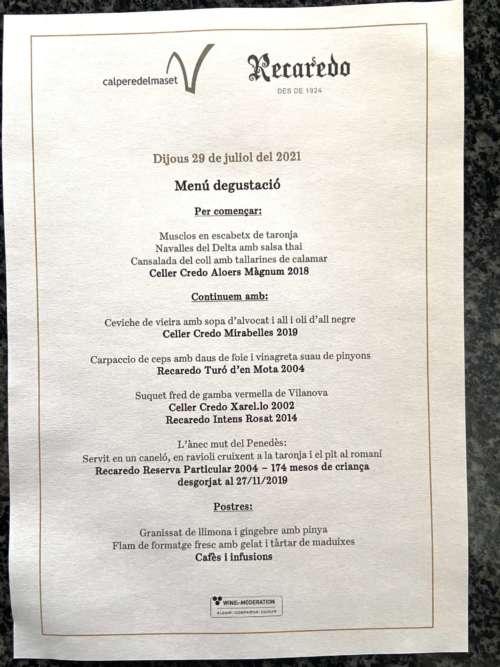 Cal Pere del Maset menú recaredo