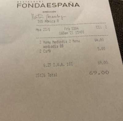 Fonda Espanya tiquet